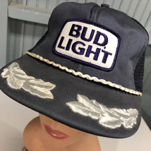 VTG Bud Light Budweiser Mesh Silver Leaf Snapback Baseball Cap Hat Made ... - $20.75
