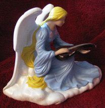 VINTAGE Ceramic Angel Figurine Playing a Guitar or Mandolin - $29.99