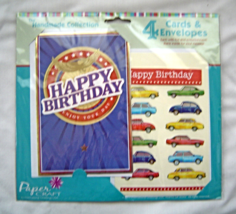 Handmade Collection 4 Cards and Envelopes Handcrafted New Blank Birthday... - $14.95