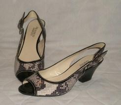 Franco Sarto Snakeskin Slingback Strap Peep Toe Heels Size 7 1/2 M  7.5 M - $27.99