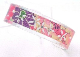 Vintage Lucite Flower Reverse Carved Clear Rhinestone Bangle Bracelet - $29.69