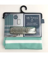 PCT Spa Collection Deluxe Fabric Shower Curtain Blue Green Aqua Turquois... - $27.68
