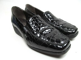 Mephisto Air Jet Women's Black Patent Croc Print Leather Wedge Loafers S... - $34.65