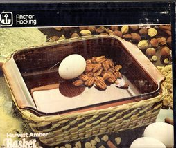"Anchor Hocking BASKET BUFFET Casserole dish 8"" HARVEST AMBER Vintage  - $25.00"