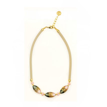 MILENA Necklace Pink and Grey Oval Murano Glass - $63.00