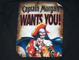 "Captain Morgan's ""I Want You"" Short Sleeve Rum Black T-Shirt Size XL  - $34.64"