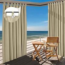TWOPAGES Beige Outdoor Curtain Waterproof Tab Top Drape 180 W x 96 L Inc... - $182.81