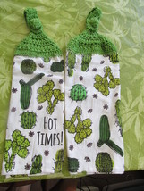 Crocheted Top Lightweight Linen Hanging Kitchen Towels  With Cactuses  - $6.00