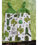 Crocheted Top Lightweight Linen Hanging Kitchen Towels  With Cactuses  - $9.00