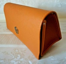 Tory Burch Sunglass Eyeglass Case Orange Crosshatch Textured w/ Gold Logo - $19.77
