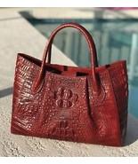 New Red Italian Leather Crocodile Embossed Tote Satchel Croc Handbag Purse - $158.35