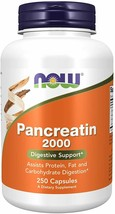 NOW Foods Pancreatin 10X, 200 mg, 250 Capsules, Amylase, and Lipase..+ - $39.59