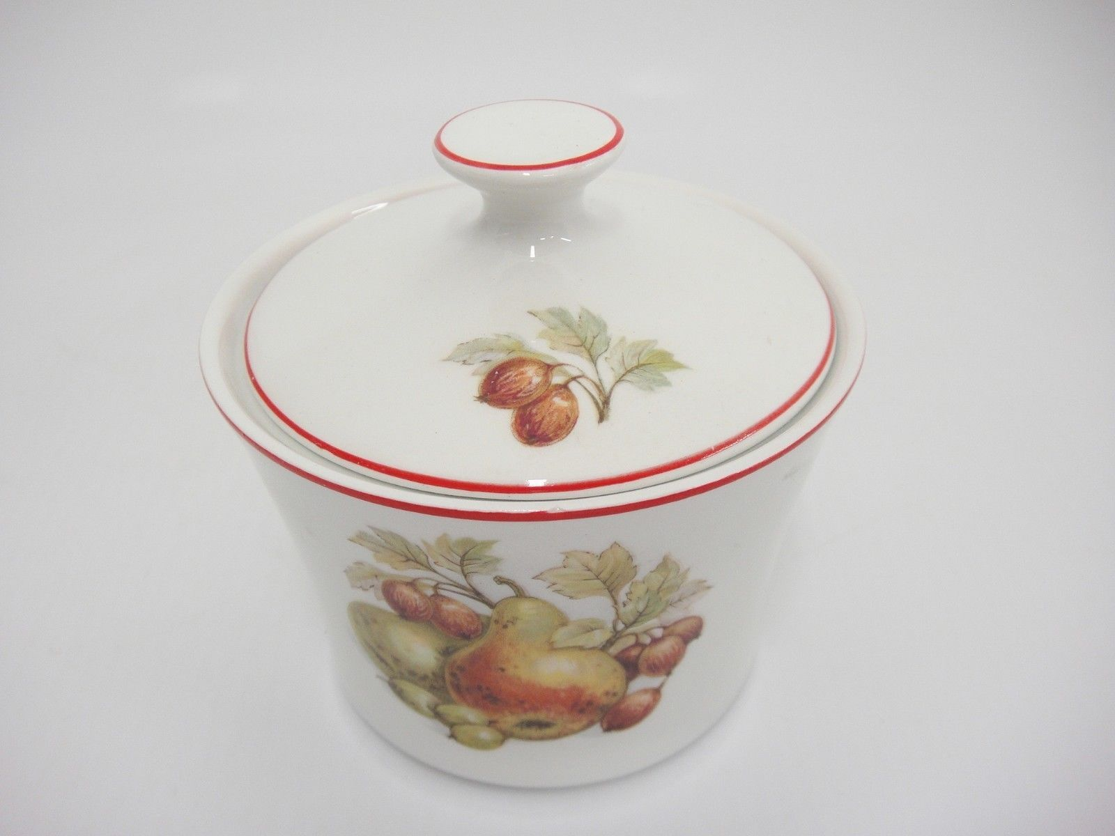 Pontesa Spain Four Cup Coffee Set Pot Sugar and Creamer Fruit Design Red Trim image 9