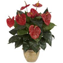 Anthurium w/Ceramic Vase Silk Plant - $49.08