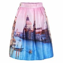 For less skirt one size pink vintage city print street view pleated skirt 1232716333087 thumb200