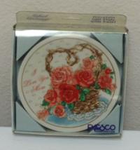Enesco 1992 I Love You Mom Basket with Roses Mini Porcelain Plate w/ Easel NIB  - $20.00