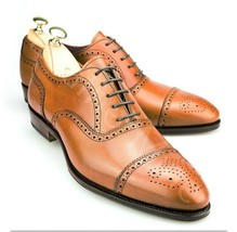Handmade Tan leather Men's Lace Up Dress brogue shoes leather wingtip shoes - $159.99 - $179.99