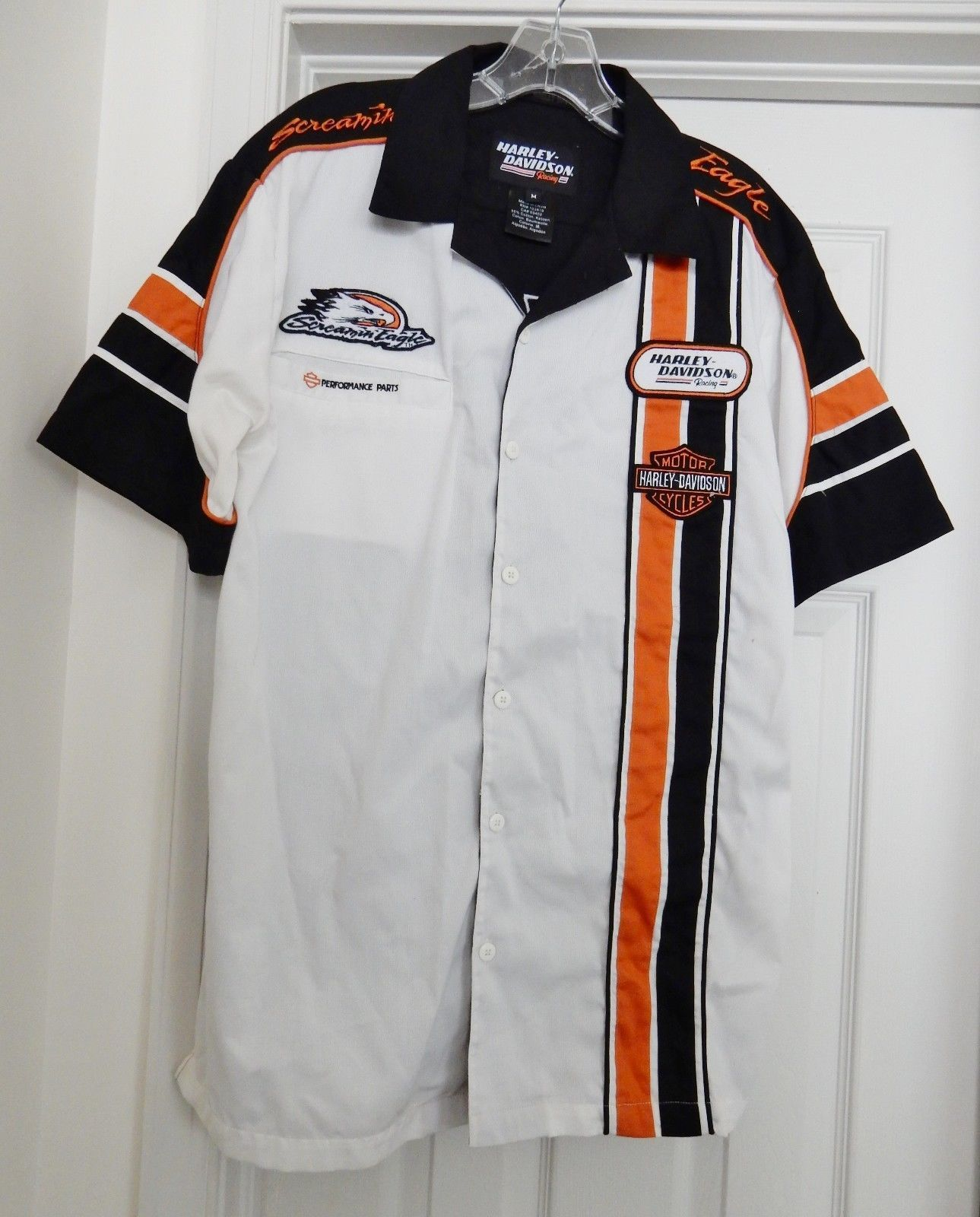 Harley-Davidson Racing Screamin' Eagle Garage Shirt Top S/S Cotton Blend Size M