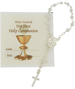 ROSARY GIFT WITH ROSE CENTERPIECE FOR CAR REAR VIEW MIRROR - $18.80