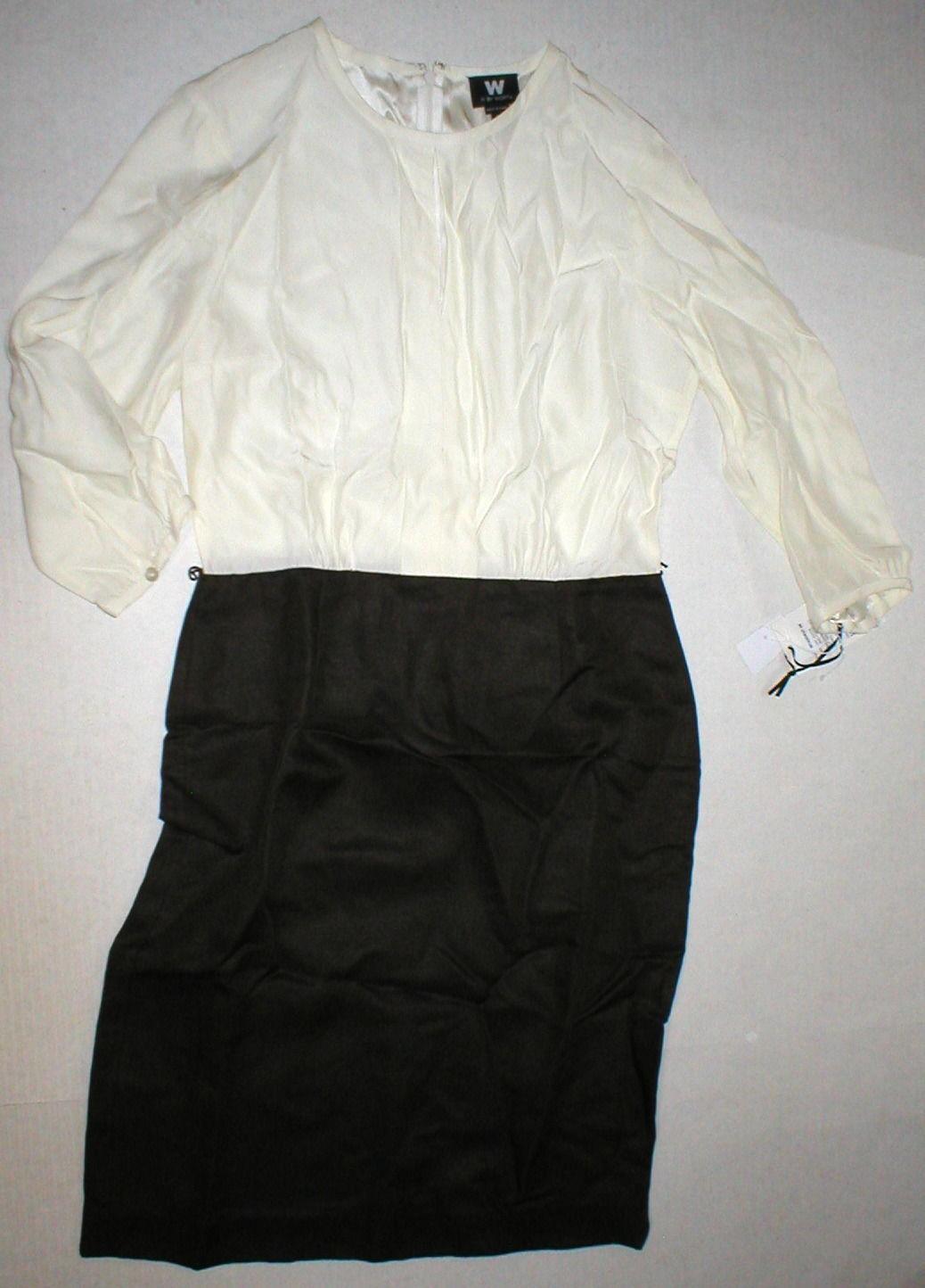 Womens NWT $398 Worth New York 6 Dress Brown White Silk Tencel Colorblock Office