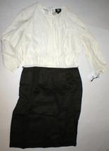 Womens NWT $398 Worth New York 6 Dress Brown White Silk Tencel Colorblock Office image 1