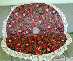 St Nick Santa Blue Red Green Lace Trim Holiday Christmas Tree Skirt Stan... - $18.00