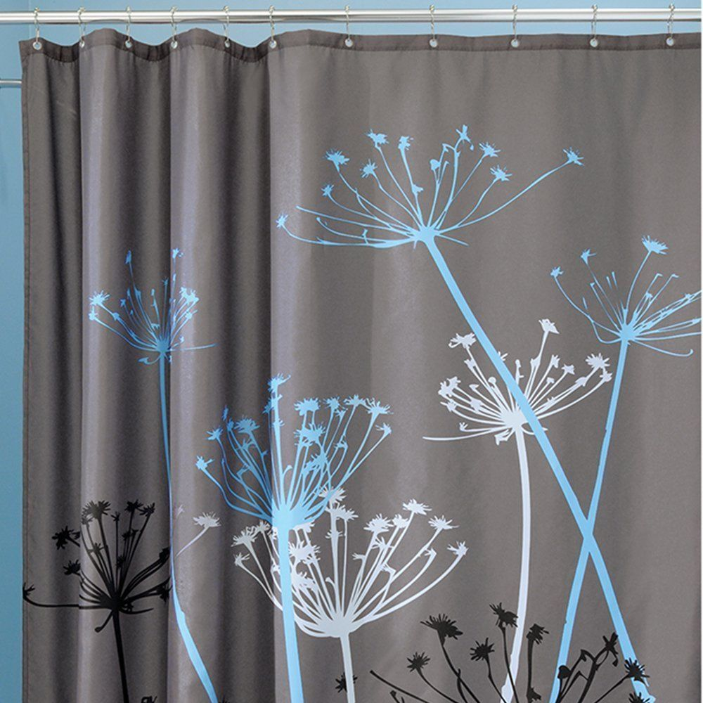 "InterDesign Bathroom Shower Curtain Thistle Gray/Blue Modern Decor 72"" 37221!"