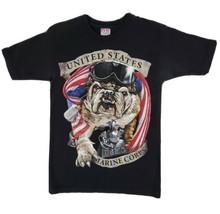 USMC Marine Corp Bulldog T-Shirt Black Small Cotton Semper Fidelis Milit... - $13.99