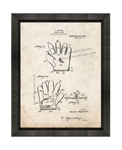 Baseball Glove Patent Print Old Look with Beveled Wood Frame - $24.95+