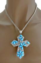 Turquoise Blue Acrylic & Rhinestoned Cross Crucifix Pendant Necklace Ear... - $16.63