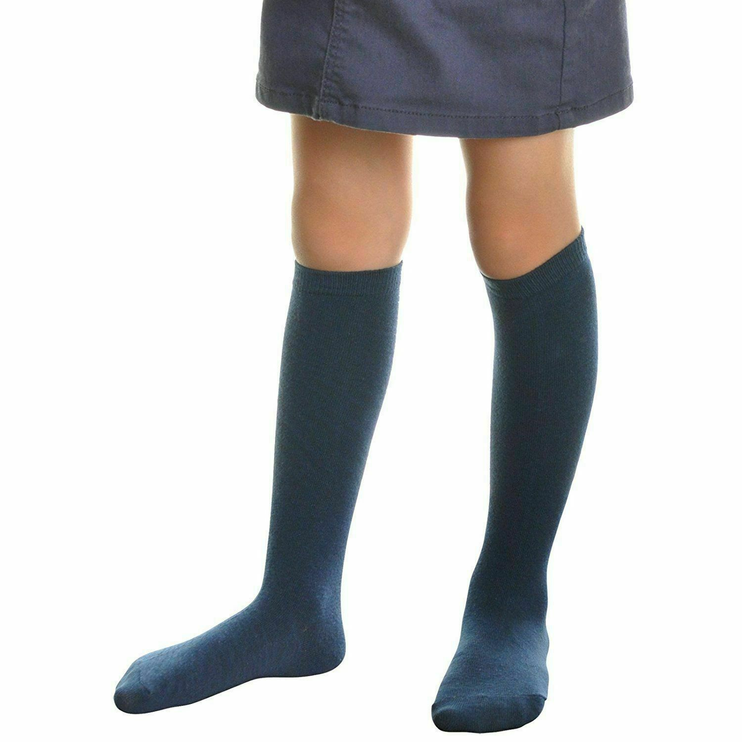 11 Pair Girls Premium Cotton Solid Navy Kids Knee High Socks for Youth Medium