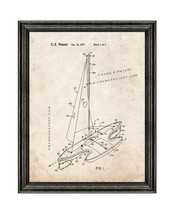 Sport Sailboat Patent Print Old Look with Black Wood Frame - $24.95+