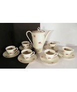 Bavaria Demitasse Coffee Tea Set 25-pc Dinnerware Kerafina Rosebud Pink ... - $84.10