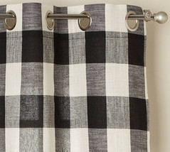 "Courtyard Buffalo Plaid Curtain Panel with Grommets, Black, 84"" length, ... - $24.99"
