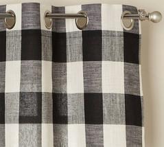 "Courtyard Buffalo Plaid Curtain Panel with Grommets, Black, 84"" length, ... - $24.99"