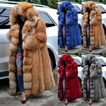 Women's Club Style Warm Hooded Thick Full Length Faux Fox Fur Coat image 2