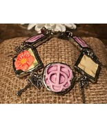Recycled Porcelain Jewelry, Embossed Collection, Floral Bracelet - $49.50