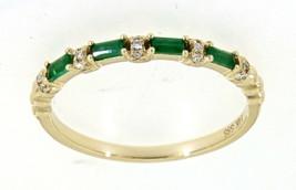 Emerald Baguette Geburtsstein 14K Gelbgold 0.18CT Feines Diamant Ehering... - $712.42