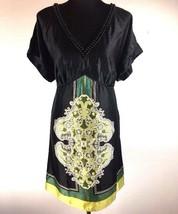 Lane Bryant Womens Tunic Top 18 Black Floral Satin V-Neck Beaded Short Sleeve - $24.74
