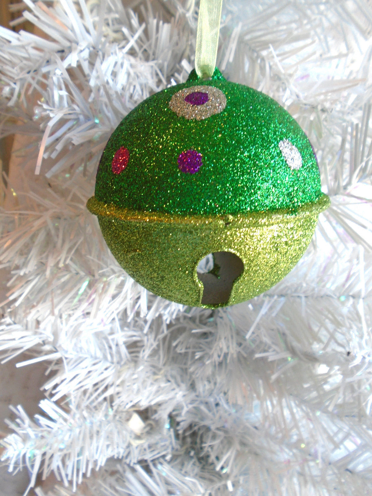 Christmas Tree Ornament Light Green Dark Green Glitter Bell Polka Dots