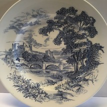 "Enoch Wedgwood Countryside 10"" Dinner Plate England Ivory Blue Scene Tunstall - $5.87"