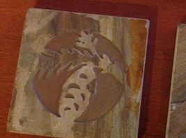 "Made in USA slate tile coaster engraved with pine cone  4"" square felt feet image 4"
