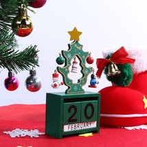 Wood Calendar Christmas Decoration Advent Decor Red Green White Cute Tre... - £7.82 GBP