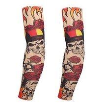 PANDA SUPERSTORE 1-Pair Unisex Rose Skull Tattoo Sun Sleeves Body Art Arm Stocki