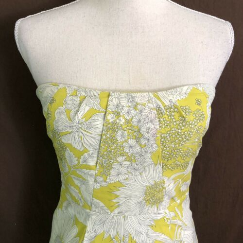 J Crew Women's Dress Printed Erica Strapless Floral Yellow Cotton Size 6 $275 image 2