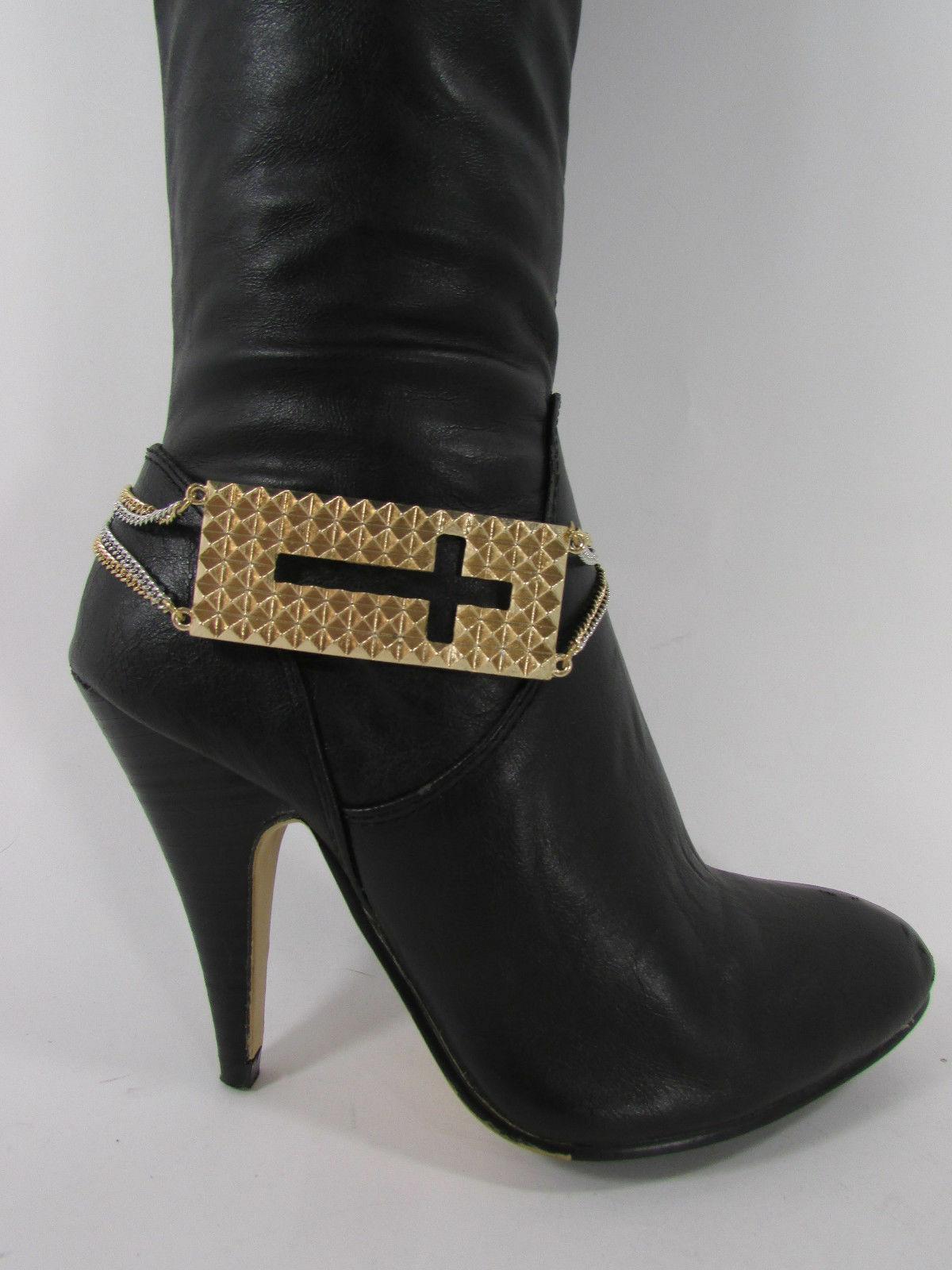 Mujer Moda Joyería Bota Brazalete Oro Placa Cruz Cadenas Zapato Bling Charm image 2