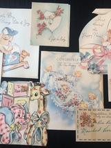 Set of 8 Vintage 40s illustrated Birth/Baby card art (Set E) image 3