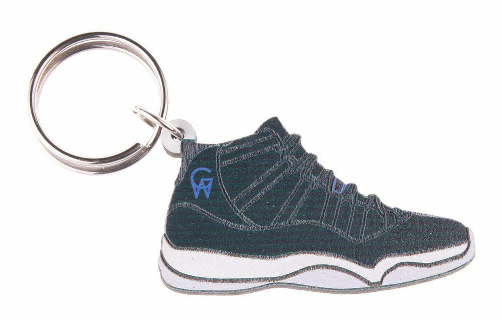 Good Wood NYC Space Jam 11 White Sneaker Keychain Blk/Wht Shoe Key Ring key Fob