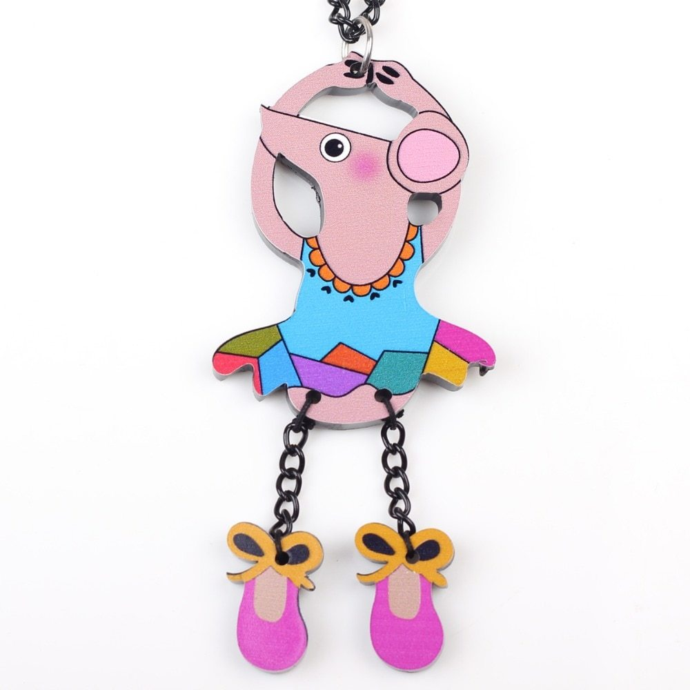dance mouse necklace pendant acrylic  2015 news accessories spring summer cute d