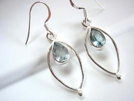 Faceted Blue Topaz Earrings Teardrop in Hoop 925 Sterling Silver Dangle Drop New - $21.77